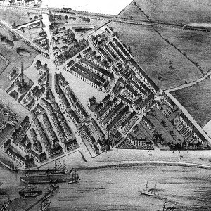 Goole around 1880 - drawn from a balloon