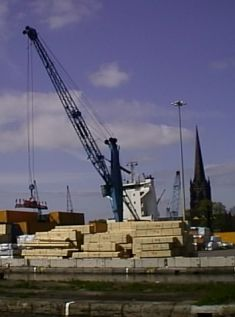 Unloading Timber at Goole Docks