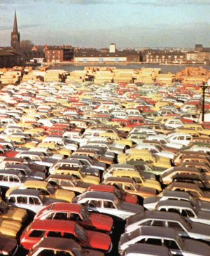 Imported cars waiting despatch from Ouse Dock