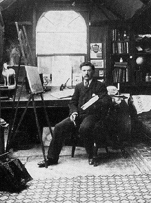 Reuben Chappel in his studio, Goole, 1890